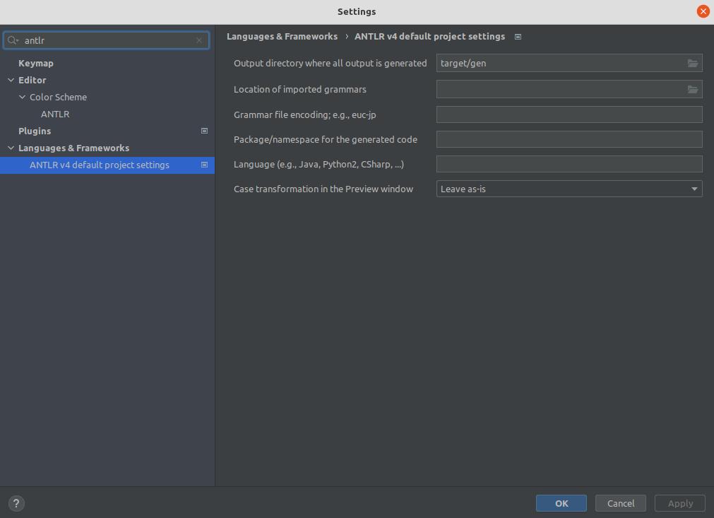 Configure ANTLR plugin